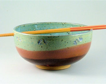 Pottery Rice Bowl with Chopsticks - Red, Maroon and Turquoise Blue