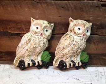 Vintage Chalkware Owls, Plaster Owls, Set of Two.