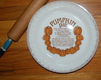 Vintage ROYAL CHINA JEANETTE Pumpkin Pie Recipe Pie Plate ~ 1980's Ceramic Plate
