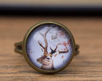 Deer Ring. Animal Ring. Woodland. Forest. Wildlife. Antlers. Glass Dome Ring. Adjustable Ring, Statement Ring