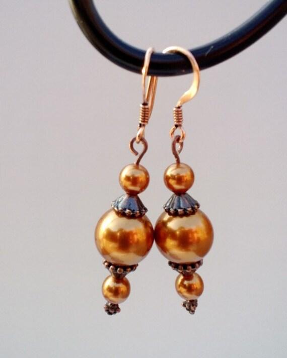 Copper Dangle Earrings, Antiqued Copper Swarovski Pearl Element Earrings, Vintage Pearl Drop Earrings, Rustic Dangle Earrings