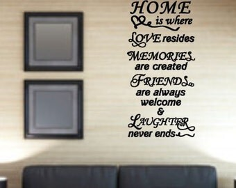 Home is Where... - Vinyl wall decal - Subway style art
