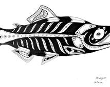 "Salmon Art, Black and White Ink Fish Drawing, Original Animal Illustration, 12"" x 18"", Native American Design, Geometric, Rustic, Cabin"