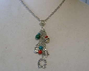 "Cynthia Lynn ""TIS THE SEASON"" Red Coral & Green Malachite Christmas Charm Necklace"