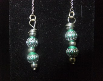 Green and Silver Thread Earrings