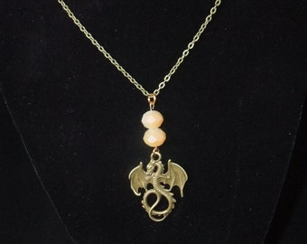 Antique Gold Dragon Necklace with Beads