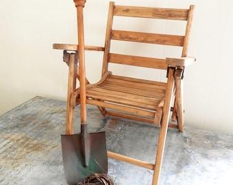 kids wood folding chair vintage garden seating beach chair oak slat photo