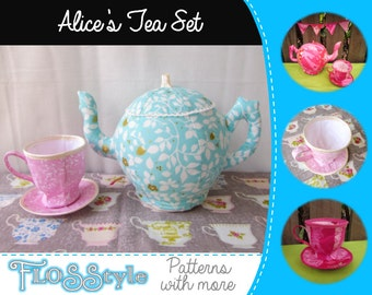 Alice's Tea Party Set Sewing Pattern for Fabric Tea Pot, Tea Cup & Saucer