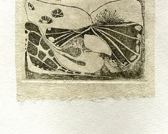 "Original etching, hand pulled, chine colle, ""Organic Fantasy"""