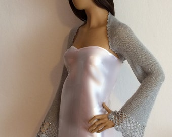 Evening Shrug, Wedding Shrug, Bridal Bolero, Silver Shrug, Wedding Bolero, Silver Shawl