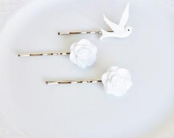 White Flower Bobby Pins, White Roses Bobby Pins, Dove Bobby Pins, Wedding Hair Accessories, Flower Hair Pins, Rustic Hair Accessories