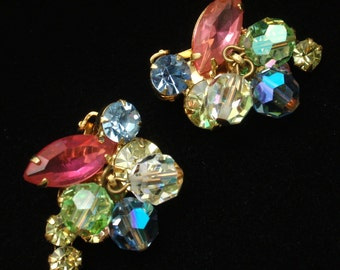 Pastel Rhinestones and Dangling Crystals Earrings Vintage Clips