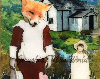 Jubal's Gift to Lucy -  Anthropomorphic, Collage, Print, Mixed Media, Fox