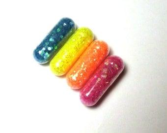 Glitter Pills, Glitter Pill, Neon Rainbow, 4 Pills, Unique Gift, white elephant gift Funny Gift, Gag Gift, Raver Gift, Girl Gift, Craft Gift