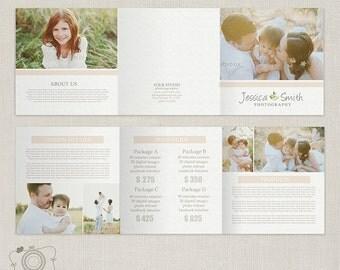5x5 Trifold Pricing List Template - Photography Pricing Guide - Price List - Brochure Price Sheet -002 - C142, INSTANT DOWNLOAD