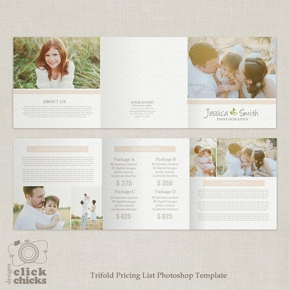 5x5 trifold pricing list template photography pricing guide for Price list brochure template