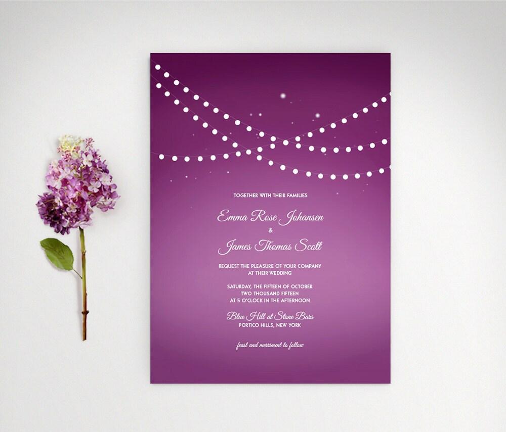 String Lights Wedding Invitation : Vineyard Wedding Invitation String Lights by LucyLovesPaper