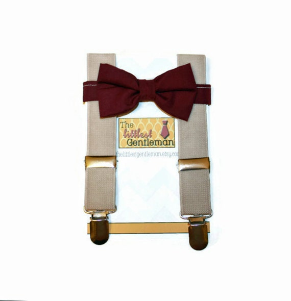 boys burgundy wine bow tie and suspenders by