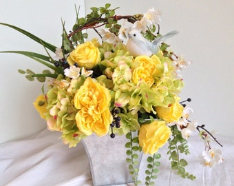 Yellow roses silk flower arrangement, spring centerpiece, blue bird, blueberries,  hydrangeas, cherry blossom, original permanent botanicals