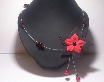 Cable collar red- and -black pearls