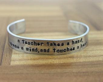 "Teacher Gift / Teacher Appreciation / ""a teacher takes a hand..."" bracelet / Daycare Gift / Gift for Teacher / Babysitter Gift / Coach Gift"