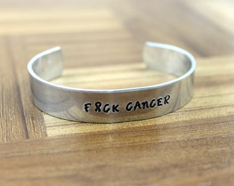 F#ck Cancer Bracelet / Cancer Survivor Bracelet / Hand Stamped Bracelet / Cancer Bracelet / Breast Cancer Gift / Mature Gift
