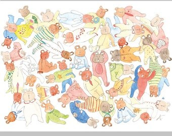 Drawing for nursery decoration - What a mess all thoses bears in pijama!! - Print of my original watercolor - Children art