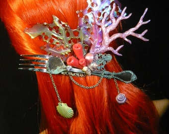 Arielles Treasure - wonderfull Hairdress with pearlescent Corals and Fork