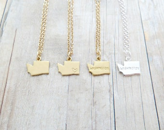 Washington State Charm Personalized Necklace