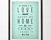 Love print What I love most about my home Typography poster Love poster San Valentine print love print Christmas gift Anniversary gift