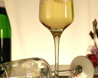 Wedding Glasses Lace Champagne Flutes Hand Painted Set of 2