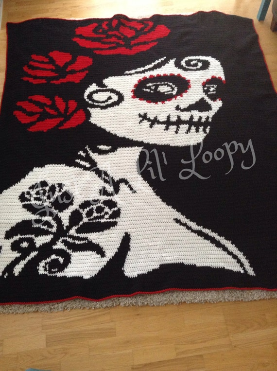 Crochet Sugar Skull Afghan