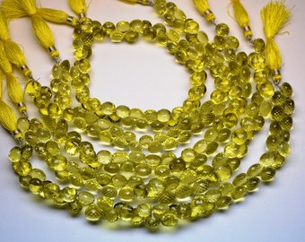 AAAA Gem Grade-12 Beads-10mm Natural Lemon Quartz Green Gold MicroFaceted Onion Briolette Beads Strand