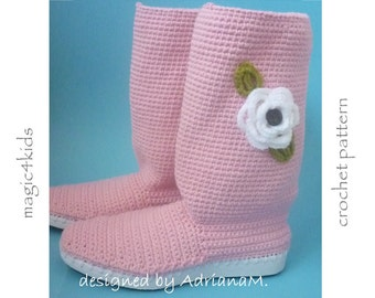 Crochet pattern- women boots on rubber soles, all women sizes,outdoor crochet boots,shoes,women,girl,adult,shoemaking