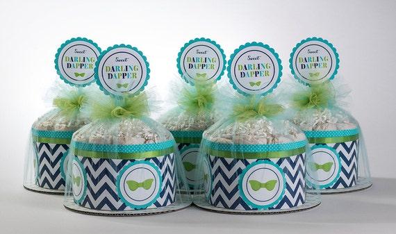 Diaper Cake Set - Darling Dapper Mini Diaper Cake Set - Bow Tie Theme Diaper Cake - Baby Shower Centerpeice -  Darling Dapper Baby Shower