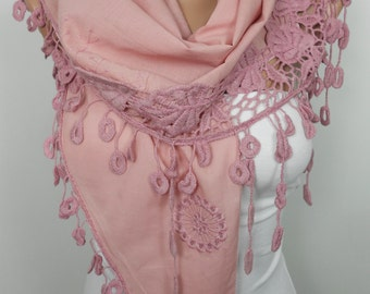 Pale Pink Scarf Shawl Mothers Day Gift Cotton Cowl Scarf with Lace Edge Spring Summer Fall Women Fashion Accessories Christmas Gifts For Her