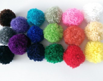 Pom Pom Ball Cat Toys Set of 4 Pick a Color / Optional Catnip, Valerian & Bell