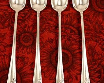 Set 4 Iced Tea Spoons Queen Bess II Vintage Silverplate 1946 Oneida Community Tudor Plate Ice Tea Parfait Spoons Silver Plate Flatware