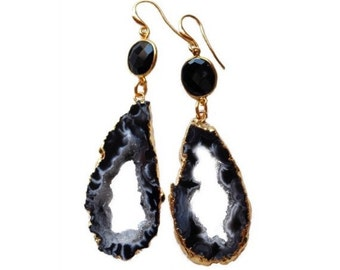 Agate stalactite and bezel onyx earrings with 24k gold electroplated edges