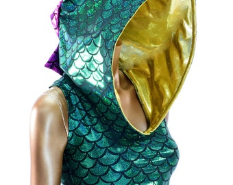 Mardi Gras Gold, Purple & Green Holographic Dragon Spiked Sleeveless Crop Hoodie Festival Rave Clubwear    -150533