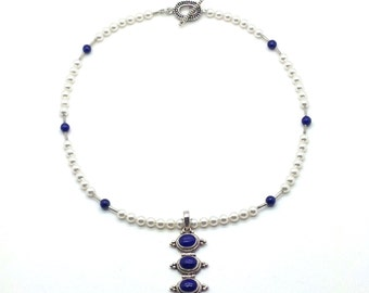 Classic Blue and White,Pearl Necklace,Blue Lapis,Sterling Silver,Pendant Necklace,Blue,Pearl Strand,Gift for Her,Gift Idea,Metal Work,Nepal