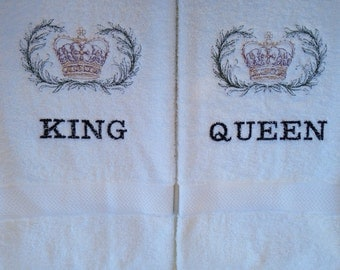 King and Queen Crown Embroidered Towel Set