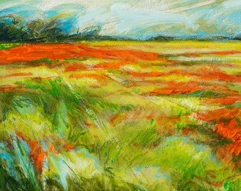 Acrylic landscape painting, Colorful Painting, Field Painting, Acrylic and Mixed Media Painting Print on Canvas, 19x9, Free Shipping