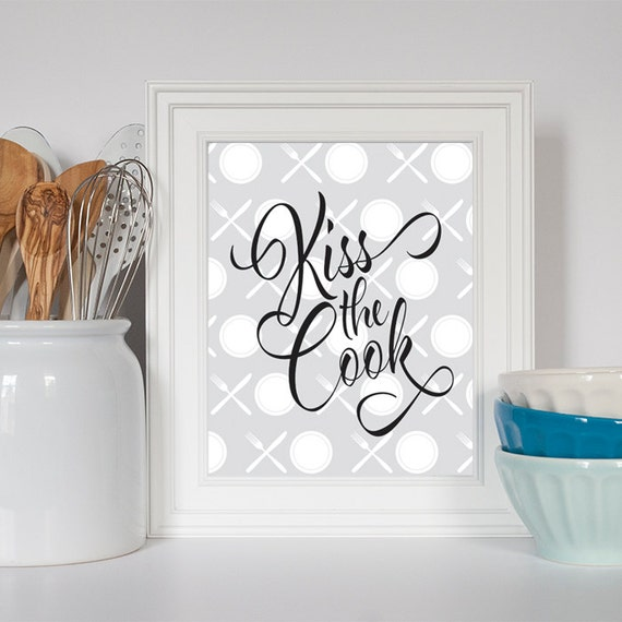 Https Www Etsy Com Listing 189325376 Kiss The Cook Kitchen Decor Kitchen