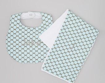 Boutique Bib and Burp Cloth - Grey and Blue - Amy Butler Lotus Full Moon Polka Dot Slate