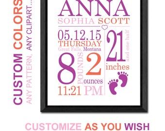 new baby girl nursery art, personalized baby gifts, custom birth stats print, baby stats, new mom gift, baby girl wall decor, birth print
