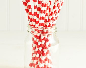 Paper Straws in Red & White Sailor Stripes - Set of 25 - Christmas Valentines Unique Pretty Wedding Birthday Party Shower Accessories Decor