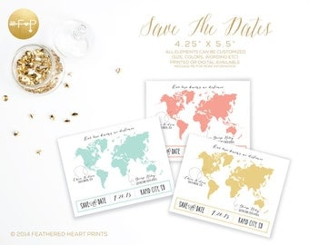 Save The Date World Map, Long Distance Love, Two Countries United, Custom Save the Dates, Custom Post Cards,Custom Magnets,Two Worlds United