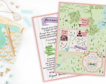 Custom Wedding MAP- Any Location Available-Donegal Ireland Map Pictured- Destination Wedding,City Map-Wedding Map Out of Town Bags