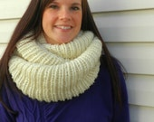 Extra Thick Hand Knit Ribbed Infinity Scarf - Off White